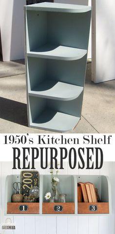 1950's Kitchen Shelf Repurposed into Rustic Storage Bins by Prodigal Pieces | www.prodigalpieces.com #repurposedfurnitureideas