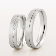 Pair of Platinum 5mm Wedding Rings by Christian Bauer