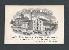 Pontiac Mills - Michigan - Flour & Plaster - Early Trade Card