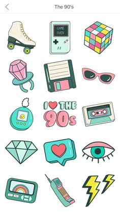 Stand out with unique 90's style photo edits! Download PicsArt today! Preppy Stickers, Cute Stickers, Journal Stickers, Planner Stickers, Homemade Stickers, Tumblr Stickers, Bullet Journal Art, Cute Doodles, Aesthetic Stickers