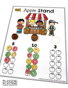 Fill in the Apple Stand 10 Frames. - Apple Worksheets Preschool
