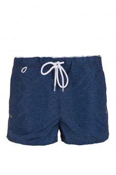 BRANDO BW - beachwear - Man - Short boxer shorts with waist sash, side welt pockets, back pocket with velcro, slits on bottom, embroidered logo. Colour: blue