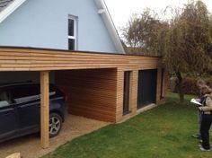 Garage En Bois Type Ossature Bois En Toit Plat Plans Bâtiment - Extension garage toit plat