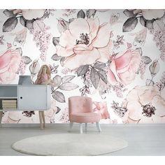 Girls Bedroom Wallpaper, Wall Murals Bedroom, Nursery Wallpaper, Flower Wallpaper, Pattern Wallpaper, Modern Floral Wallpaper, Roses Photography, Pink Rose Flower, Roses Pink