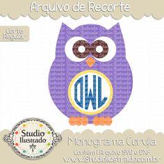 Monograma Coruja, owl monogram, monogram, monograma, cute, fofo, fofa, baby, , coruja, corujas, owl, owls,  hoo, cute owl, baby owl, bebê coruja, arquivo de recorte, corte regular, regular cut, svg, dxf, png, Studio Ilustrado, Silhouette, cutting file, cutting, cricut, scan n cut.