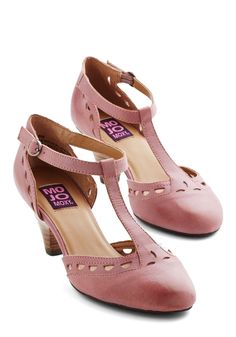Elegance in its Prim Heel in Mauve - Mid, Leather, Solid, Cutout, Special Occasion, Prom, Wedding, Party, Vintage Inspired, 20s, Better, T-Strap, Variation, Pink, 30s