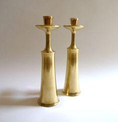Jens Quistgaard Modernist Brass Candlesticks