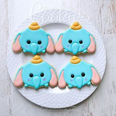 TsumTsum Dumbo (cREEative_Cookies) Tags: disney tsumtsum tsum kawaii faces cute adorable characters decorated sugar cookies creeative creative royal icing art food delicious yummy nom birthday bday theme set platter lilo stitch winnie pooh baymax olaf dumbo party