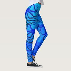 Amy's Octopus Blue On Blue - Leggings - blue gifts style giftidea diy cyo