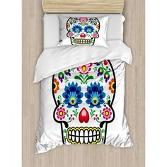 East Urban Home Sugar Skull Polish Folk Art Style Mexican Sugar Design Ethnic Carnival Theme Duvet Set Size: