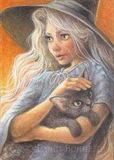 "Art by Lynn Bonnette ""The Witch's Cat"""