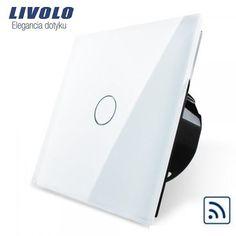 dotykový vypínač ( Radenie 1) s dotykovou sklenenou plochou v bielej farbe z možnosťou ovládania s diaľkovým ovládaním, prípadne aj mobilným telefónom. Tento vypínač je na ovládanie jedného svetelného okruhu z jedného miesta. Vypínač môžme poznať aj pod názvom základný, jednoduchý, alebo jednotka vypínač.