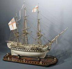 """French Prisoner of War Bone Model,                                                                            H.M.S. """"Achille"""""""