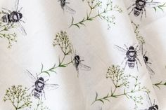 Bee  Gypsophila Natural linen furnishing fabric. 142cm width. Sold by the metre. Gypsophila, Natural Linen, Giclee Print, Flora, Bee, Wall Art, Wallpaper, Nature, Fabric