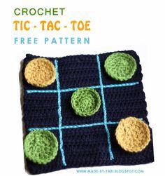 Tales of a Crafty Mommy: {Free Pattern} How to Crochet a Tic-Tac-Toe Boardhttp://made-by-fabi.blogspot.ca/2014/03/how-to-crochet-a-tic-tac-toe-board-free-pattern.html༺✿ƬⱤღ  https://www.pinterest.com/teretegui/✿༻