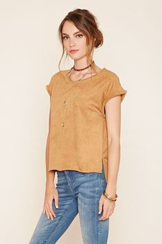 Forever 21 Contemporary - A knit faux suede top featuring short fringed cap…