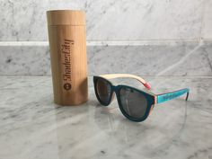 866a6edd39 Details about Shadescity Handcrafted Blue Skate Wood Frame Silver Mirror Polarized  Sunglasses