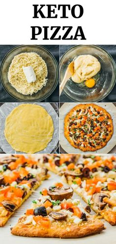 Keto Pizza Recipe (Low Carb Fathead Crust) - Savory Tooth - Click the pin to find nutrition, macros, & step by step photos! An easy keto pizza recipe that uses - Pizza Recipes, Lunch Recipes, Low Carb Recipes, Diet Recipes, Breakfast Recipes, Vegetarian Recipes, Healthy Recipes, Diet Desserts, Sin Gluten