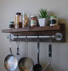 "Industrial Rustic Kitchen Wall Shelf Spice Rack with 24"" Pot Rack Bar and 5 S Hooks on Etsy, $125.00 by mandy"