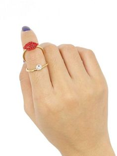 Golden Crystal Lip Knuckle Ring | Choies