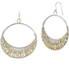 Kenneth Cole New York Beaded Gypsy Hoop Earrings ($30) ❤ liked on Polyvore featuring jewelry, earrings, two tone, beading earrings, beaded hoop earrings, two tone hoop earrings, two tone earrings and two tone jewelry