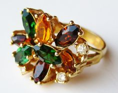 Vintage Ring Jeweled 14k Gold Plate Over the Top by SoCalJewelBox, $42.00