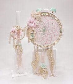 βαπτιστικό ρολόι με ονειροπαγίδα σε βεραμάν χρώμα από την Έλενα Μανάκου