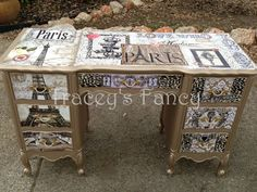 The Glory Collection Painted Furniture Decoupage Desk, Decoupage Furniture, Hand Painted Furniture, Funky Furniture, Art Furniture, Repurposed Furniture, Furniture Makeover, Vintage Furniture, Dresser Furniture