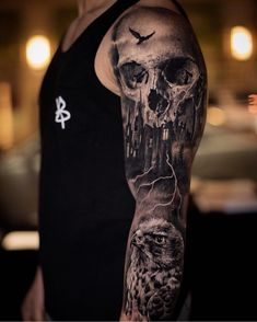 Our Website is the greatest collection of tattoos designs and artists. Find Inspirations for your next Sleeve Tattoo Ideas. Skull Sleeve Tattoos, Best Sleeve Tattoos, Tattoo Sleeve Designs, Leg Tattoos, Body Art Tattoos, Realistic Tattoo Sleeve, Scary Tattoos, Badass Tattoos, Great Tattoos
