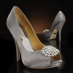 Badgley Mischka Lissa-Silver-Satin Silver Wedding Shoes  Heel Height 4 1/4 Inches. Getting these shoes but in coral!