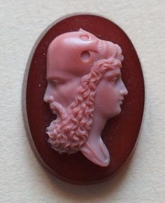 """""""Grillo  Materials: agate  Date of the cameo: ca 1860-1870  Origin: France  Size: 1 1/16 x 3/4 inch  Condition: 100% Mint, never worn    Fabulous and rare cameo, very detailled. It depicts three figures at once: the man, the woman and the death.    Very desirable and collectable piece."""""""