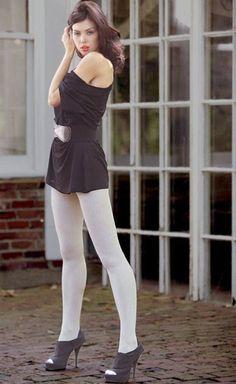 Talia 60 Denier Soft Ribbed Cotton Opaque Tights- On Sale Pantyhose Fashion, Pantyhose Outfits, Fashion Tights, Cozy Fashion, Colored Tights Outfit, White Tights, Opaque Tights, Nylons, In Pantyhose