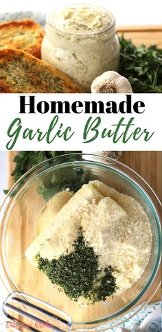 This is the most amazing garlic butter! This delicious and creamy garlic butter is perfect when making garlic bread, sautéing vegetables or to give your steak a burst of flavor! Garlic Butter Spread, Homemade Garlic Butter, Garlic Butter Sauce, Steak Butter, Garlic Butter For Bread, Homemade Breads, Steak Toppings, Flavored Butter, Dressings
