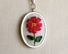Silk Ribbon Embroidery Deep Pink Magenta Daisy Flower Pendant Necklace