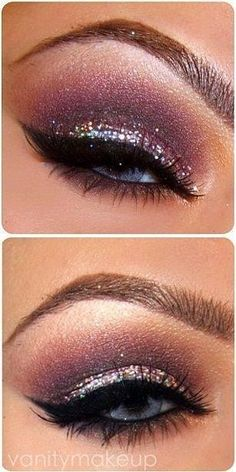Glam up the eyes in a simpler way with a burgundy eye shadow, thick black liner, and glitter on the lids. And a final touch of highlight on the brow bone. Great for a night out or just for a fun different look.