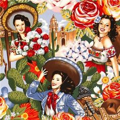 Mexican women fabric by Alexander Henry sombrero flower - Fabric ...