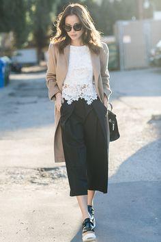 Beige coat + white lace + black culottes