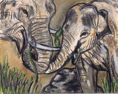 """Day 11 of 30 IN 30 - Original 8x10 Pastel Painting - """"Baby and Mother Elephant"""" : SOLD, Painting 11 of January Leslie Saeta Challenge"""