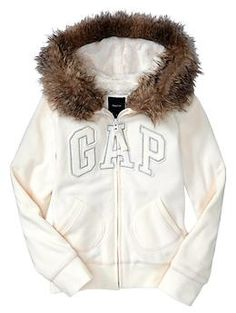 Arch logo faux-fur fleece hoodie | Gap