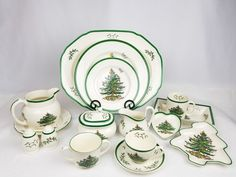 "Coffee Cup, S3324 R, 3 3/8"" Tall. Heart Tray, S3324 M, 4 1/8"" x 4 3/8"", 2-n. Christmas Tree Tray, S3324 P, 6 3/4"" x 6 1/2"". Creamer, S3324 V, 4 1/4"" tall, 5"" wide. Sugar Dish with Lid, S3324 U, 5"" wide, 4"" tall. 