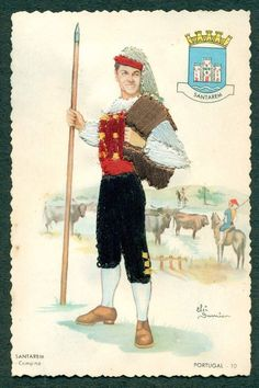 A peasant from Santarem, Portugal Portugal, Spanish Dancer, Vintage Cards, Traditional Outfits, Paper Dolls, Costumes, Country, Antiques, Prints