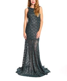 This Black & Teal Social Lace Gown is perfect! #zulilyfinds