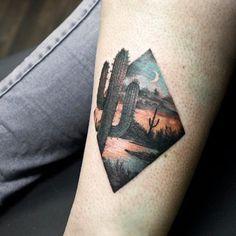 Cactus lake moonlight tattoo by at Soular Tattoo - Christchurch - New Zealand Forearm Tattoos, Sexy Tattoos, Unique Tattoos, Cute Tattoos, Beautiful Tattoos, Body Art Tattoos, Hand Tattoos, Small Tattoos, Tattoos Pics