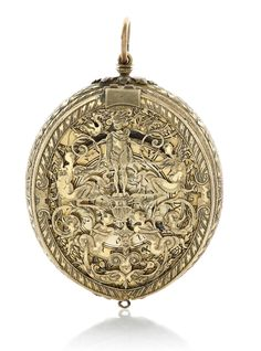 PAPON -  AN EARLY OVAL GILT METAL PRE-HAIRSPRING VERGE WATCH WITH ALARM CIRCA 1574, signed under the chapter ring length 64 mm.