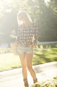 Plaid shirt and shorts
