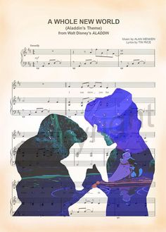 Here is a sheet music art print of Aladdin and Jasmine on the Sheet Music for A Whole New World. This is perfect for any Aladdin/Disney fanatic!  #artprint