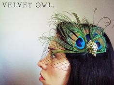 Bridal Peacock feather hair clip comb fascinator and by VelvetOwl, $84.00