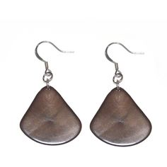 Tagua Leaf Earrings - Coffee