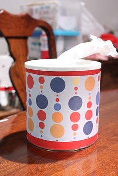 toilet paper container-I HATE buying boxes of kleenex, such a waste money, toilet paper works just as well an is more economical.  Love this idea!