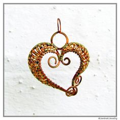 Small Heart Pendant, Copper wire jewelry with delica beads, Wire wrapped heart necklace, Swirly heart pendant, Made to Order, Unique jewelry by JantraK